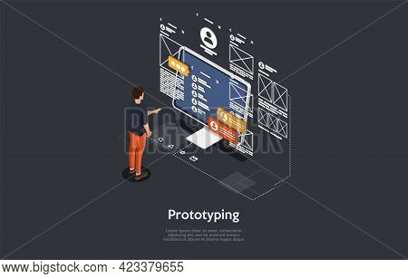 Program Prototyping Process Concept Design. Cartoon 3d Style, Vector Isometric Composition. Code Pro