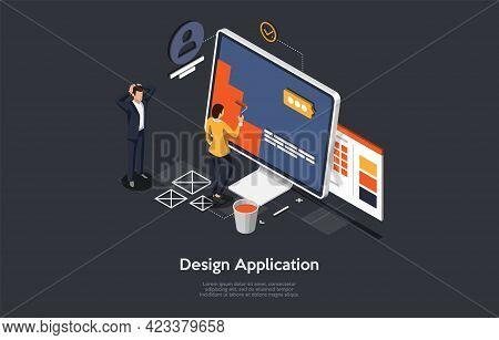 Application Design Development Process Concept Art. Cartoon 3d Style, Vector Isometric Composition.
