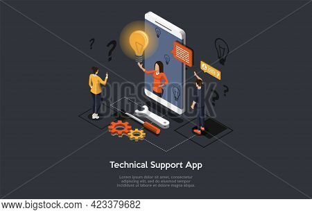 Composition With People And Objects On Dark Background. Vector Isometric Illustration, Cartoon 3d St