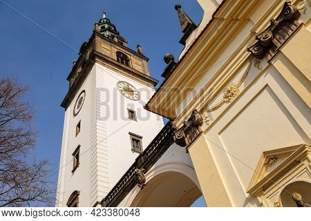 White And Yellow Baroque St. Stephens Cathedral At Dome Square, Church With Observation Bell Clock T
