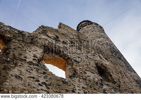 Medieval Gothic Castle Kostomlaty Or Sukoslav , Grey Stone Ruin On Hill At Sunny Winter Day, Ancient