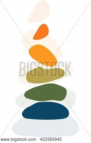 Pile Of Stones, In Vertical Balance, Can Be Used As Sign, Symbol For Relaxation, Yoga, Meditation, B