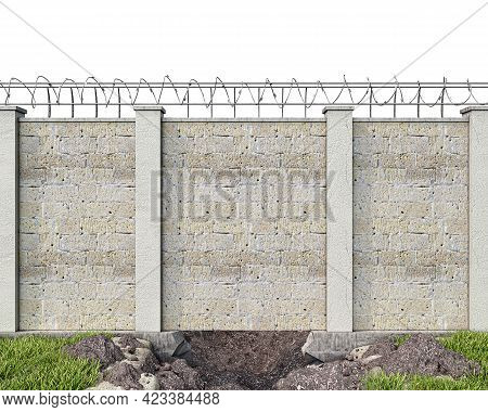 A Hole Dug Up Under The Brickwall Fence With Barbed Wire, Front View, Escape Concept, 3d Illustratio