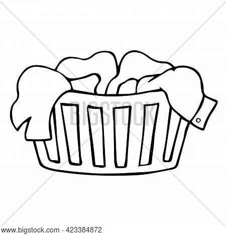 Laundry Basket With Dirty Clothes, Isolated On White Background. Household, Washing. Hand Drawn Dood