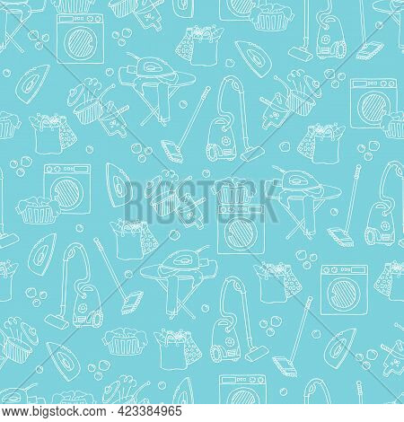 Household Items Seamless Pattern, White Doodle Sketch Of Cleaning Tools And Domestic Chores On Turqu