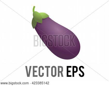 Vector Long, Bulbous, Bright Purple Eggplant Or Aubergine Icon