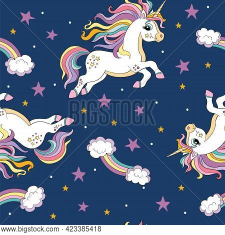 Seamless Pattern With Cute Unicorns With Long Mane And Stars On Blue Background. Vector Illustration