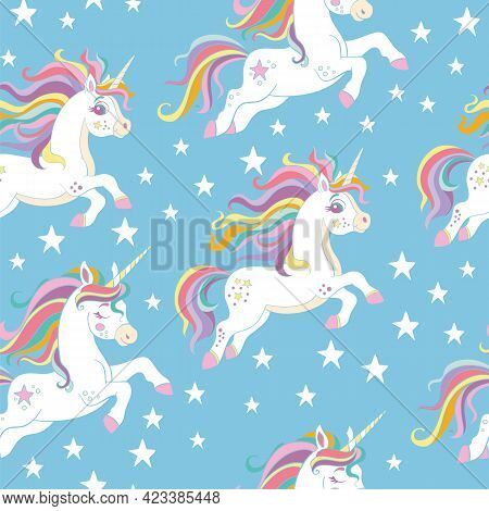 Seamless Pattern With Cute Unicorns And Stars On Blue Background. Vector Illustration For Party, Pri