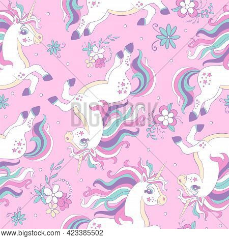 Seamless Pattern With Dreaming Unicorns And Flowers On Pink Background. Vector Illustration For Part