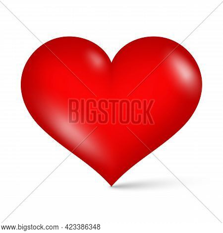 3d Glossy Red Heart On White Background Vector Illustration