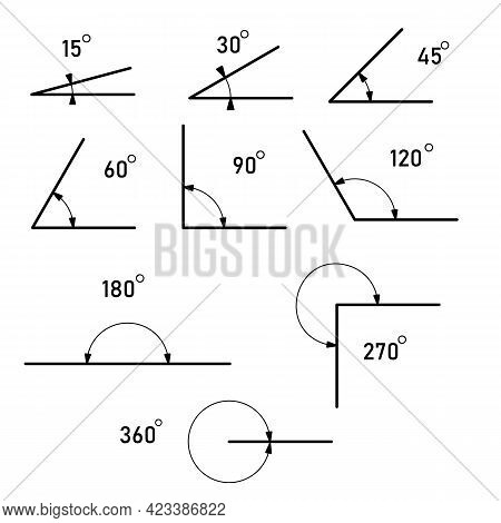 Angle Different Degrees. The Symbol Of Geometry, Mathematics. Set Of Vector Icons Consisting Of Angl