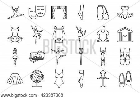 Theater Ballet Icons Set. Outline Set Of Theater Ballet Vector Icons For Web Design Isolated On Whit