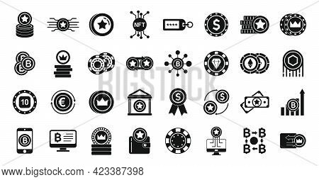 Tokens Icons Set. Simple Set Of Tokens Vector Icons For Web Design On White Background