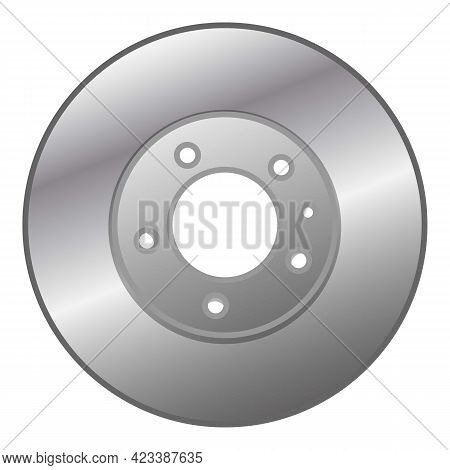Car Brake Disc Icon. Cartoon Of Car Brake Disc Vector Icon For Web Design Isolated On White Backgrou