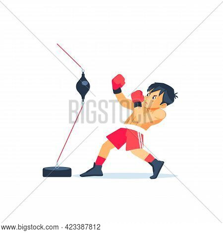 Young Boxer Doing Some Training On A Double End Speed Ball Boxing Bag At A Gym, Kid Taking Up A New