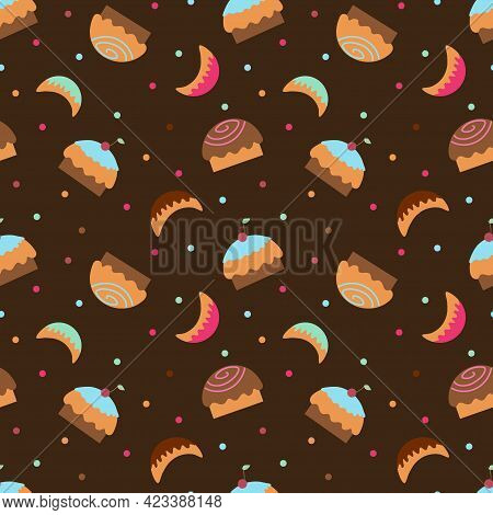 Wallpaper With Cupcakes, Sweets And Sweet Horns On A Dark Brown Background. Textile Background With