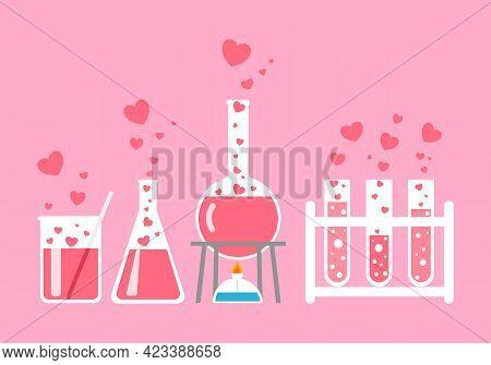 Love Chemistry, Love Reaction In Flat Design On Pink Background. Beaker, Test Tube With Flying Heart