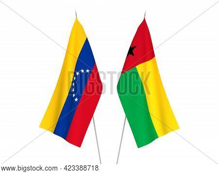 National Fabric Flags Of Republic Of Guinea Bissau And Venezuela Isolated On White Background. 3d Re
