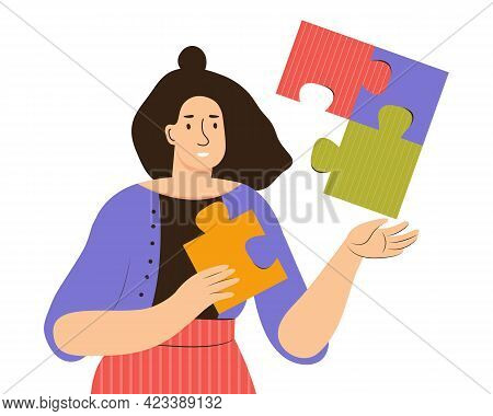 Happy Woman Solve Puzzle. Girl Has Put Together A Jigsaw. Concept Of Love Yourself, Health, Mental B