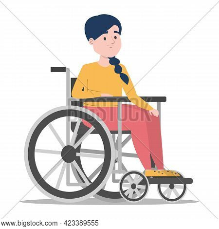 Disabled Girl In The Wheelchair Vector Isolated