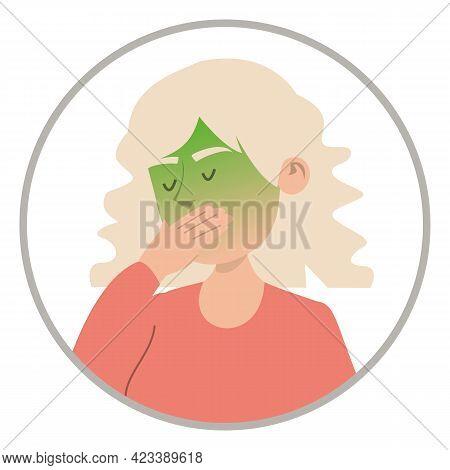 Woman Feel Nausea Isolated. Symptom Of Disease