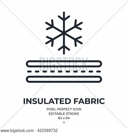 Insulated Fabric Editable Stroke Outline Icon Isolated On White Background Flat Vector Illustration.