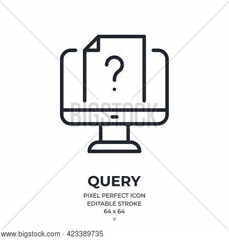 Computer Query Editable Stroke Outline Icon Isolated On White Background Flat Vector Illustration. P