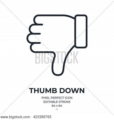 Thumb Down Editable Stroke Outline Icon Isolated On White Background Flat Vector Illustration. Pixel