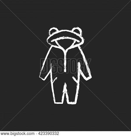 Kigurumi Chalk White Icon On Dark Background. Funny Jumpsuit For Children. Halloween Tiger Costume F