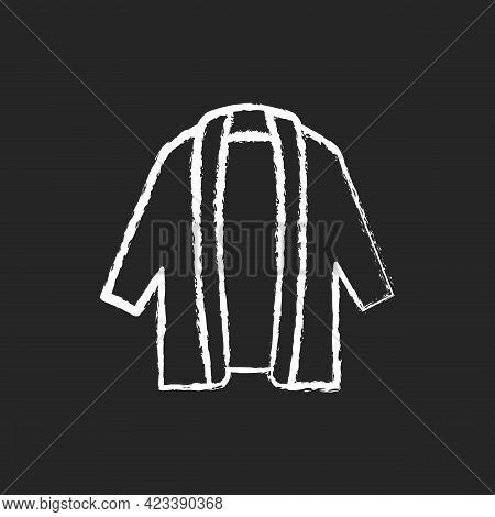 Long Cardigan Chalk White Icon On Dark Background. Oversized Trendy Jacket. Unisex Outfit. Comfy Wea