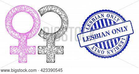 Vector Net Mesh Lesbian Couple Symbol Carcass, And Lesbian Only Blue Rosette Textured Seal Print. Cr