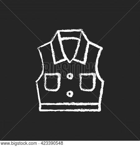 Denim Vest Chalk White Icon On Dark Background. Jacket With Pockets. Unisex Shirt. Sleeveless Top. F