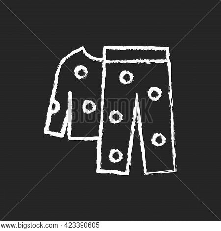 Fleece Pyjamas Chalk White Icon On Dark Background. Children Sleepwear. Women Nightwear. Men Nightwe