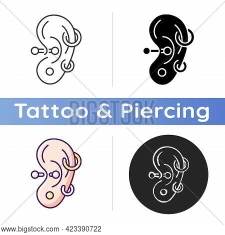 Ear Piercing Icon. Jewellery Injected Into Human Ears. Accessories Made From Valuable Materials. Bod