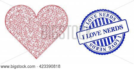 Vector Net Playing Card Heart Suit Frame, And I Love Nerds Blue Rosette Scratched Seal Imitation. Cr