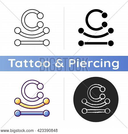 Piercing Jewelry Icon. Type Of Jewellery Specially Designed To Be Wore On Human Body. Modern Style.