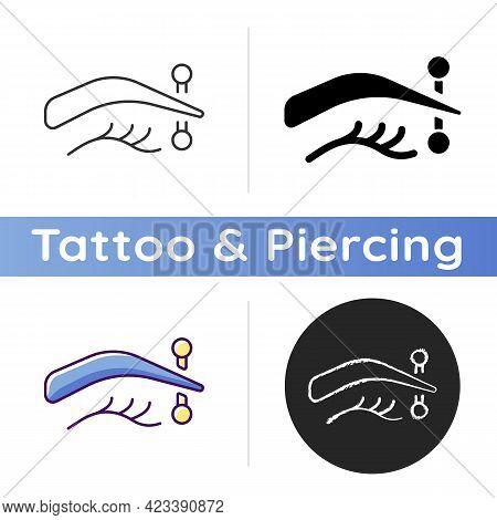 Eyebrow Piercing Icon. Metal Needle Injected In Human Eyebrow. Special Type Of Piercing. Human Body
