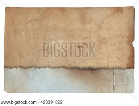 Old Vintage Paper With Scratches And Coffee Stain Texture Isolated On White