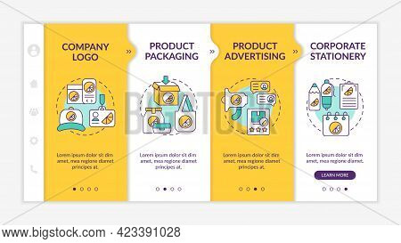 Corporate Brand Contact Points Onboarding Vector Template. Responsive Mobile Website With Icons. Web