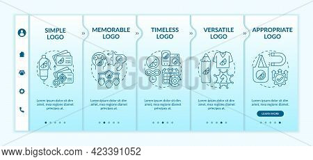 Fundamental Logo Design Rules Onboarding Vector Template. Responsive Mobile Website With Icons. Web