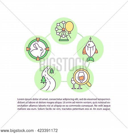 Recreation Potential Development Concept Line Icons With Text. Ppt Page Vector Template With Copy Sp