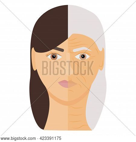 Woman's Face With Aging Phases. Young And Aging Skin. Natural Aging Process. Anti Age Concept. Vecto