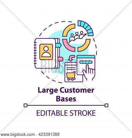 Large Customer Bases Concept Icon. Online Marketplace Benefit Abstract Idea Thin Line Illustration.