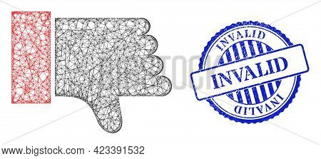 Vector Net Mesh Thumb Down Wireframe, And Invalid Blue Rosette Dirty Stamp. Crossed Frame Net Symbol