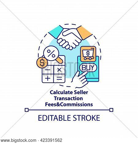 Calculate Seller Transaction Fees And Commissions Concept Icon. Payment Transactions Cost Abstract I