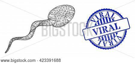 Vector Net Mesh Sperm Carcass, And Viral Blue Rosette Scratched Stamp Seal. Wire Carcass Net Image D