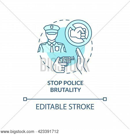 Stop Police Brutality Concept Icon. Fighting Racism Abstract Idea Thin Line Illustration. Reducing P