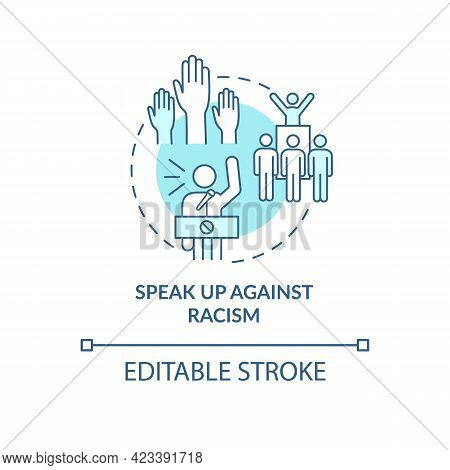 Speak Up Against Racism Concept Icon. Fighting Racial Discrimination Abstract Idea Thin Line Illustr