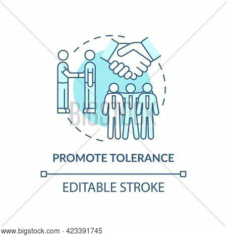Promote Tolerance Concept Icon. Racism At Work Abstract Idea Thin Line Illustration. Improving Inter