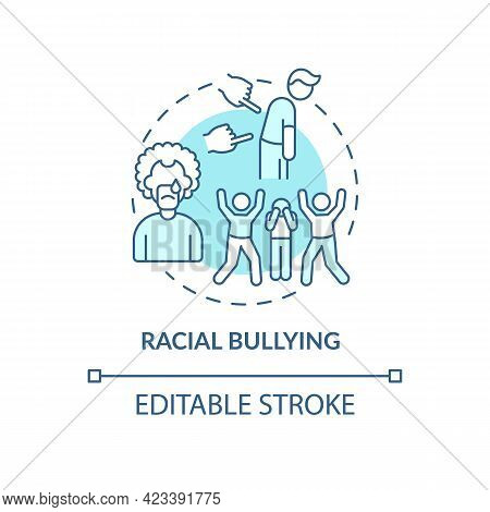 Racial Bullying Concept Icon. Racism In Social Situation Abstract Idea Thin Line Illustration. Hosti